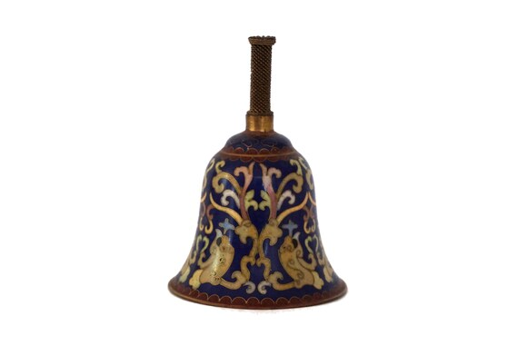 Chinese Cloisonne Dinner Table Bell, Enamel and Brass Asian Home Decor
