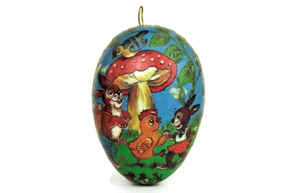 Vintage French Easter Egg Ornament, Paper Maché Woodland Illustration with Chick and Rabbits
