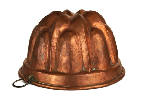Antique French Copper Jelly Mold, Rustic Kitchen Wall Decor, Copperware Cake Baking Pan, Foodie Gift