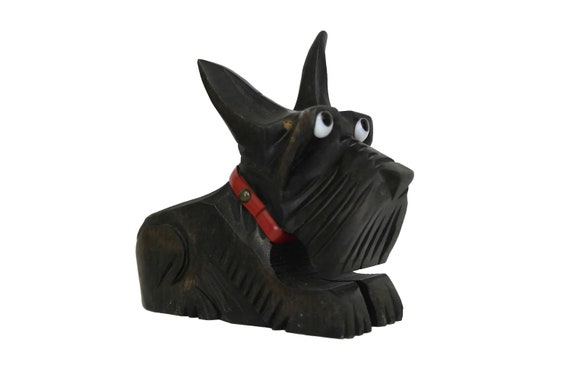 Art Deco Scottish Terrier Figurine, Hand carved wooden Pipe Holder, Collectible Scottie Dog