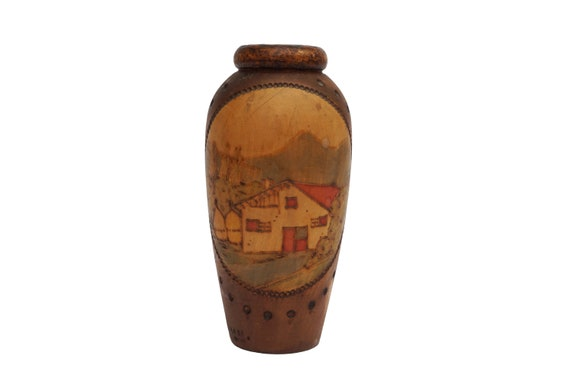 Hand Painted Wooden Vase with French Country Landscape,  Vintage Arts and Crafts Carved Wood Urn