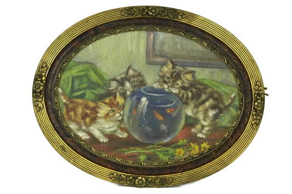 French Antique Cat Painting, Kittens and Fish Bowl Original Art in Oval Art Deco Frame, Animal Lover Gift