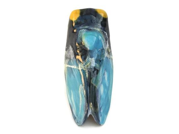 Mid Century Wall Pocket Vase Cicada, French Vintage Ceramic Insect, Provence Garden Decor