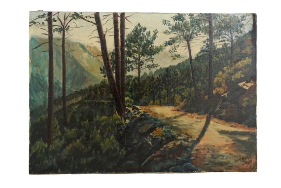 French Mountain Path and Forest Landscape Painting, Original Signed Country Scenic Art