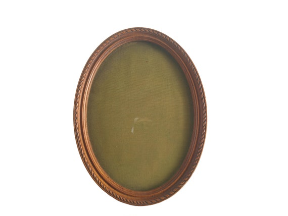 Antique Wooden Oval Photo Frame, French Wall Hanging Picture Display