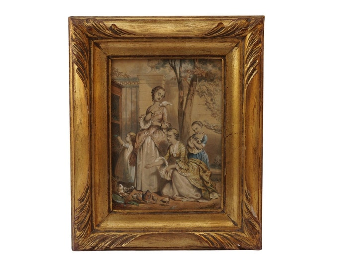 Antique French Children in Farmyard Engraving, 19th Century Framed Art Print with Chickens and Animals