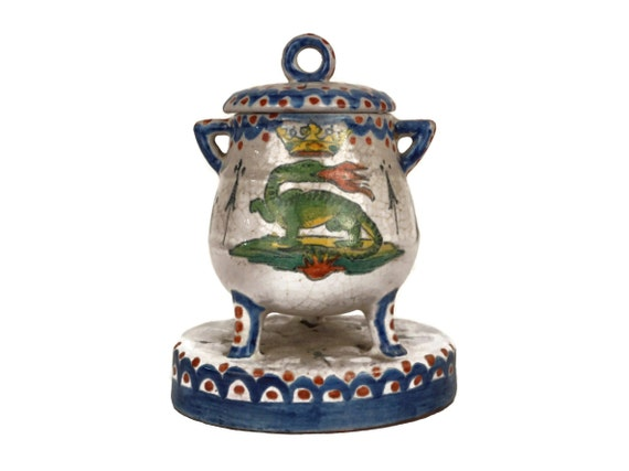 Antique French Faience Mustard Pot by Henri Chaumeil with Fleur de Lys and Heraldic Crest and Crown