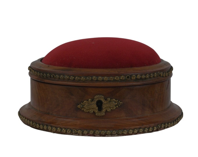 Antique Wooden Jewelry Box with Pin Cushion, Vanity Storage and Decor