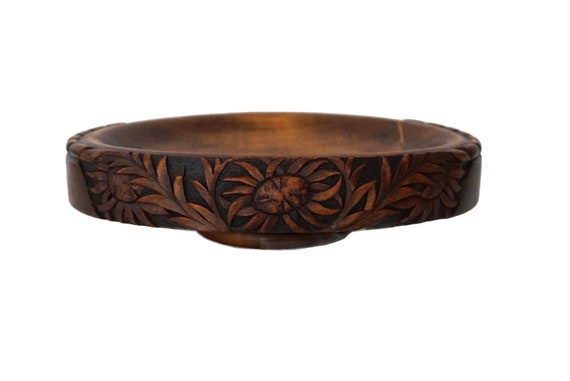 Arts & Crafts Carved Wood Bowl with Sunflowers, Antique French Wooden Table Centerpiece Platter