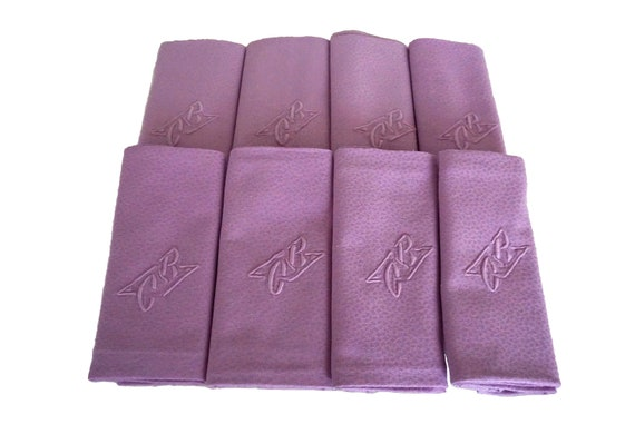 Antique French Linen Napkins, Set of 8, Lilac Monogram Serviettes with Embroidered Initials C R