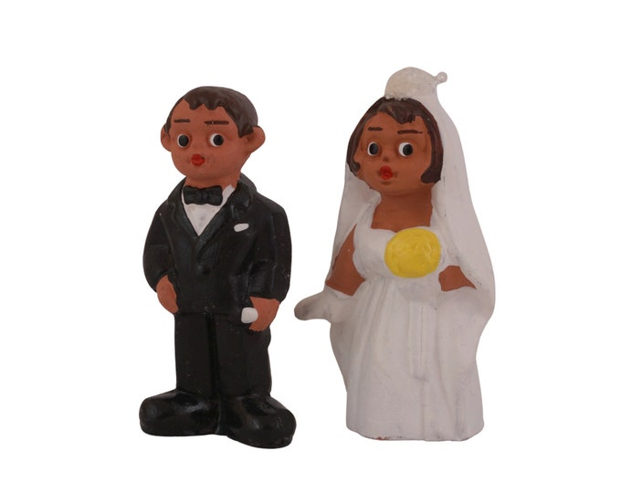 Spanish Terracotta Wedding Cake Toppers, Cute Hand Painted Clay Bride and Groom Figurines
