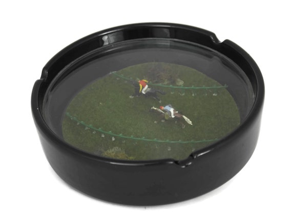 Vintage Glass Ashtray with Miniature Horse Race Inclusion.