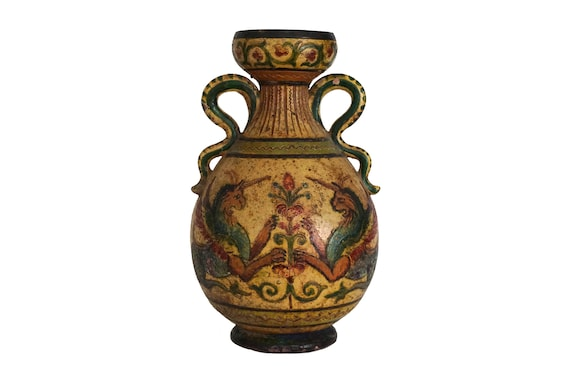 Antique Montopoli Arno Pottery Vase with Hand Painted Mythological Lions, Hand Painted Italian Ceramic