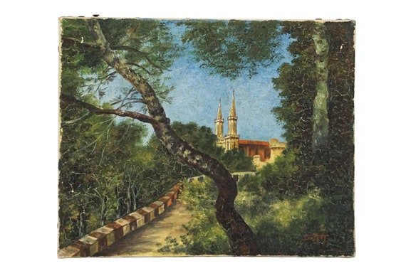 French Church Spire and Forest Painting, Vintage Gallery Wall Art