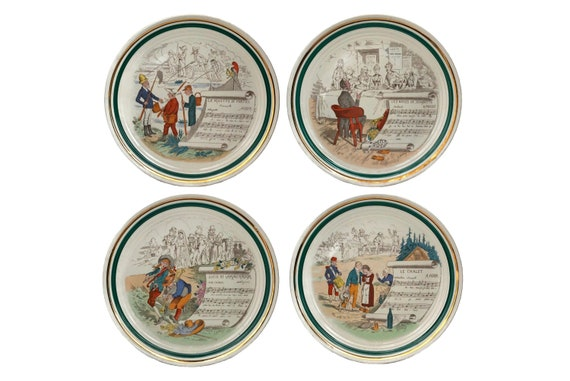 French Opera Wall Plates Set of 4 with Musical Transferware Decor