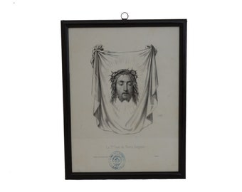 Antique Engraving of Holy Face of Jesus on Shroud, Christ Portrait Art Print, French Christian Home Decor