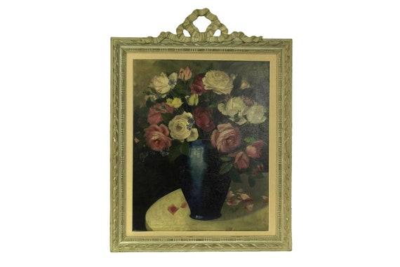 Rose Flower Still Life Painting, Antique French Floral Arrangement Original Wall Art
