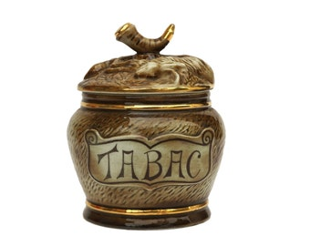 French Porcelain Pipe Tobacco Jar with Animals and Hunting Decor, Mid Century Ceramic Humidor Pot