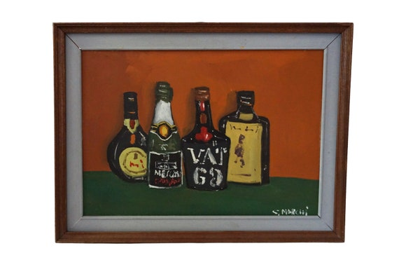 Mid Century Liquor Bottle Painting, Original Still Life Art, Bar Wall Decor