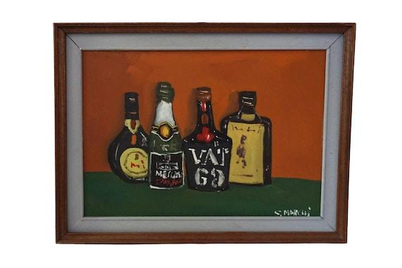 Mid Century Liquor Bottle Painting, Original Still Life Art, Bar Wall Decor