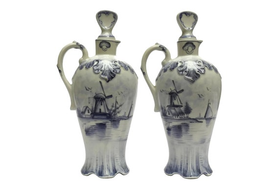 Delft Porcelain Condiment Bottle Set, Antique German Oil & Vinegar Cruet