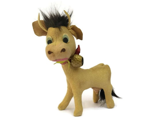 Vintage Stuffed Cow Toy with Bell.