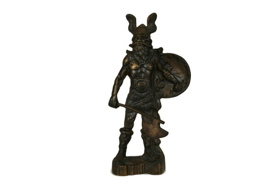 Vintage Brass Viking Statuette, Nordic Warrior with Axe Figure, Norseman Figurine