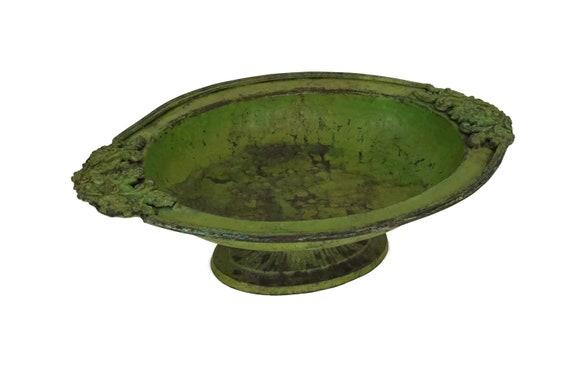 French Antique Copper Fruit Bowl on Pedestal Base, Metal Bird Bath