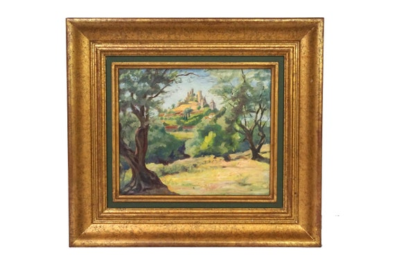 French Chateau in Country Landscape Painting, Original Framed Provencal Castle Wall Art