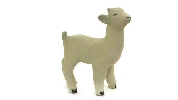 Vintage French Ceramic Lamb Figurine, Farm Animal Baby Room and Nursery Decor