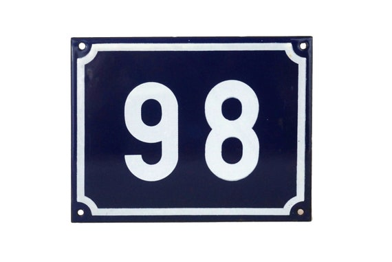 French Enamel House Number 98, Front Door Address Sign, Garden Gate Plaque