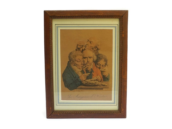 Antique Oyster Art Print Engraving, Framed French Caricature Portraits