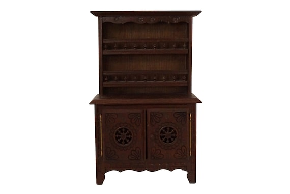 French Breton Doll Furniture Sideboard with Hutch, Miniature Carved Wooden Kitchen Cupboard Dresser