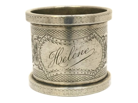 French Silver Napkin Ring Engraved Helene.