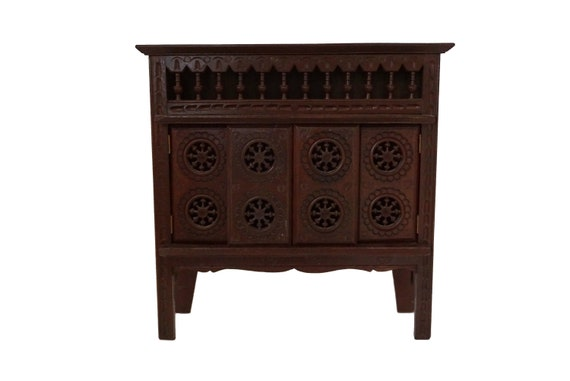 French Breton Doll Furniture Sideboard, Miniature Carved Wooden Buffet Cupboard