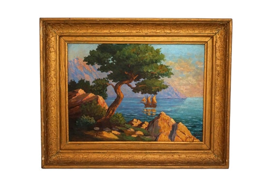 French Cote d'Azur Oil Painting, Mediterranean Coastal Landscape Painting with Tree and Sailing Boat by John Sellon