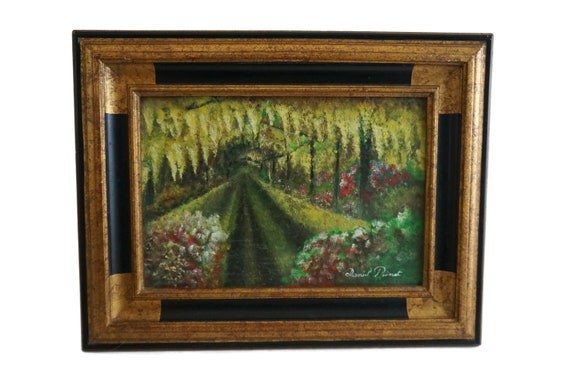 French Impressionist Flower Garden Painting with Pergola Covered Walkway, Framed and Signed Art