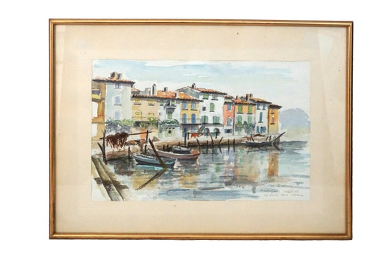 Mediterranean Coastal Village Painting with Boats and Fishermen Houses, French Sea Art