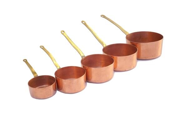 Miniature Villedieu Copper Saucepan Set, French Vintage Doll Kitchen Toy Pots