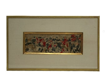 """Antique Framed Stevengraph """" Death of Nelson """", 19th Century British Military Collectible, Woven Silk Fiber Art"""