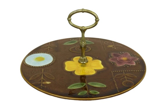 Vintage Ceramic Serving Cake Stand, French Sarreguemines Cheese Pottery Platter