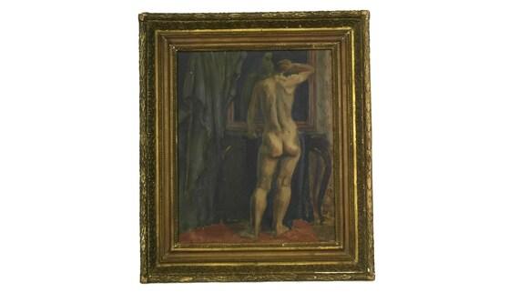 Antique Nude Male Portrait Painting