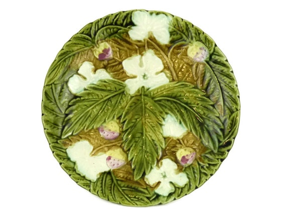 Antique French Majolica Strawberry Plate, Rustic Kitchen Green Leaf Wall Plate