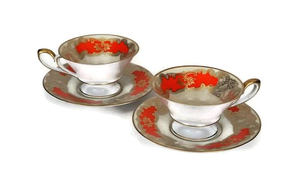 Vintage Tirschenreuth Bavaria Demitasse Pair, Orange and Gold Porcelain Expresso Cup and Saucer
