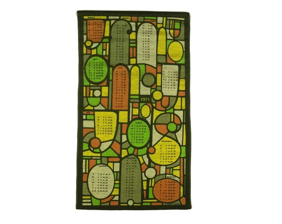 Vintage Linen Tea Towel Calendar, 1970s Orange and Green Stained Glass Printed Dish Cloth, 1971 Birthday Gift