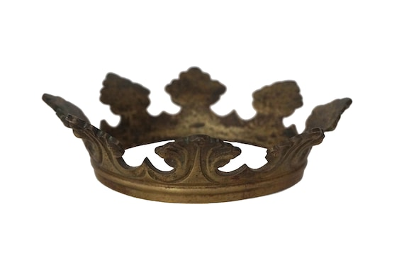 Antique Bronze Saint Statue Crown, French Santos Tiara