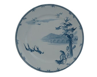 Antique French Blue Transferware Ironstone Plate with Swallows, Bridge and Riverscape by E. Bourgeois, Faience Wall Hanging Plate