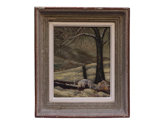 Winter Landscape Oil Painting with Tree and Snow Scene, Vintage French Country Art