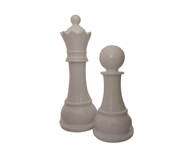 Vintage Chess Figurine Statue Pair with King and Pawn,