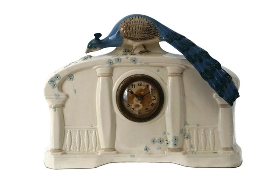 Art Deco Peacock Mantel Clock, French Ceramic Bird Figurine